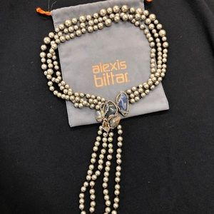 Alexis Bittar Grey Pearl Stone Necklace